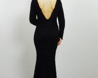 Black Knitted Evening Dress