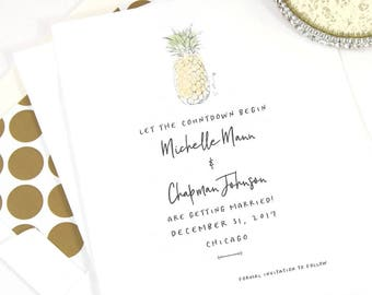 Pineapple Save the Dates, Destination Wedding, Save the Date Cards, Hand Drawn, STD, Hawaiian Wedding theme (set of 25 cards)
