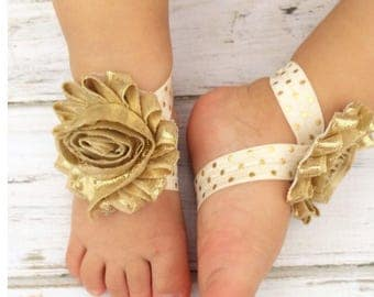 Barefoot Baby Sandals Gold Barefoot Baby Sandals Newborn Barefoot Sandals, Flower Sandals Toddler Sandals Flower Girl Baby Sandals