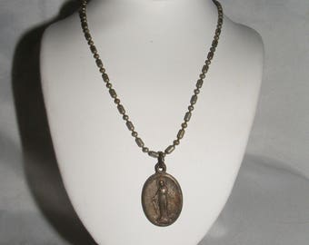 Vintage Catholic Miraculous Medal and Chain
