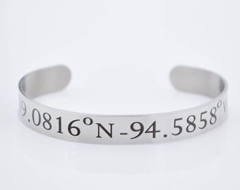 latitude longitude bracelet, location jewelry, special place location jewelry, latitidue necklace, gift, special message inside bracelet