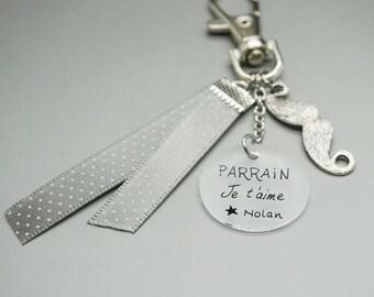 "key man cabochon Medal ""Godfather I love you"" + name customizable mustache"