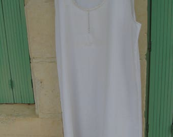 Antique, French, white cotton, lace trimmed chemise, dress or gown.