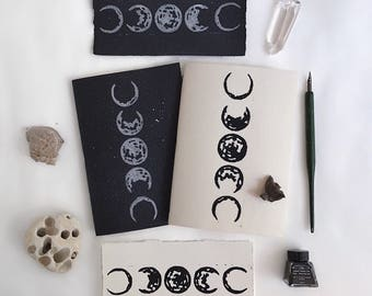 Moon phases notebook/ Pack of 2 notebooks/ Star notebook/ Moon phase print/ Stationery gift/Astronomy gifts/ Traveler's notebook refills A5