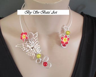 """Necklace """"Florescence"""" butterfly flowers red and aluminum yellow beads"""