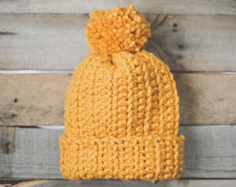 Yellow Hat Pom Pom | Slouch Beanie | Chunky Hat | Crocheted Hat | Gold | Wool Blend | Adult | Handmade | Soft