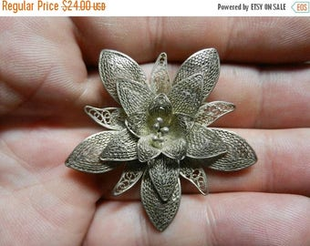 Summer Sale Vintage Sterling Silver Filigree Flower Brooch