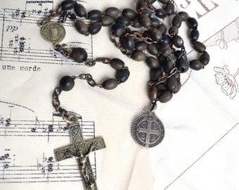 25% SALE Antique French Black Rosary Beads and Metal Cross Vintage Crucifix & Medal of Saint Benoit 1800s