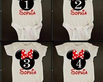 Minnie Mouse Birthday Onsie