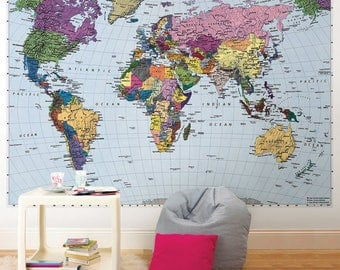 Komar Colorful World Map Wall Mural Wallpaper 4-050
