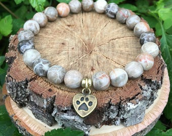 Love my dog- Chrysanthemum Stone(8mm) Bracelet-Oliver Grey Jewelry - Puppy Charm - Stacking Bracelets - Gemstone Bracelet - Earthy Jewelry