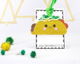 Taco decoration, taco Christmas, tree decor, glitter decor