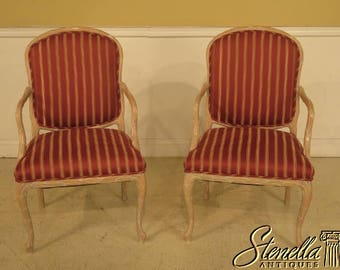 29189E: Pair Decorator French Open Arm Fauteuil Arm Chairs