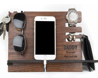 Walnut Charging station engraved and personalized with your message. Fathers Day gift. Phone docking, watch holder rings glasses and change