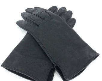 Black Leather Driving Gloves - Size 7 / rockabilly gloves goth gothic vintage 60s mod gloves short leather gloves mod costume gloves pin-up