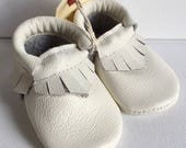 Size 3- White Leather Moccasin (Ready to ship)