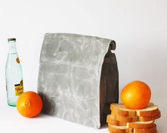 SALE: (less than perfect) ALUMINUM waxed canvas lunch bag