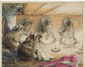 "pretty mice at work by beatrix potter  - counted Cross Stitch Pattern chart pdf format - 15.71"" x 13.14""  - L944"