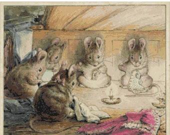 "pretty mice at work by beatrix potter  - counted Cross Stitch Pattern chart pdf format - 15.71"" x 13.14""  - L944"
