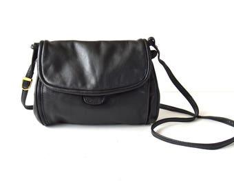 Vintage Genuine Leather Bag Small Shoulder Bag Cross Over Bag Black Long Strap Leather Crossbody Bag Mini Purse