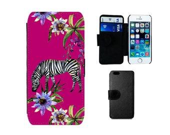 Wallet iPhone case SE 8 7 6S 6 Plus, X 5S 5C 5 4S, Samsung Galaxy Flip S8 Plus, S7 S6 Edge, S4 S5 Mini, Zebra african animal cover. F347