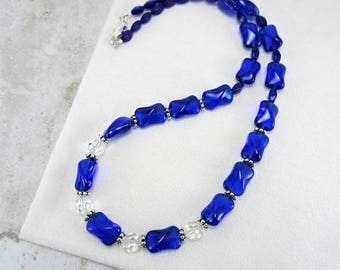 Cobalt Blue Necklace, Dark Royal Blue Necklace, Vibrant Blue Necklace, Elegant Blue Necklace, Gifts for Mom