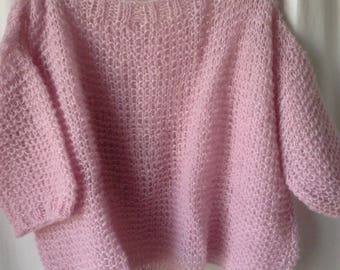 Oversized hand knit pale pink mohair sweater