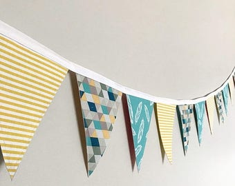 Spring Bunting Sale Fabric Bunting Banner - Blue and Yellow