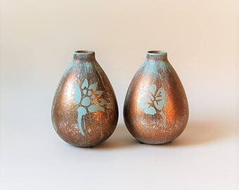 Gold and Turquoise Vases Set of 2