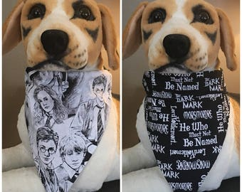 Reversible Over The Collar Pet Bandana Scarf Harry Potter Dogs Cats 2 in 1 Slide On