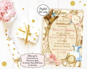 Digital Alice in Wonderland Birthday Invitations - Printable,Digital Download,Personalized,Party