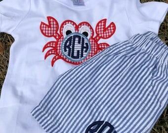 Monogram crab shirt and shorts set