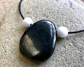Shungite EMF Necklace w/Large Shungite Medallion & White Jade