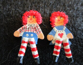 Raggedy Ann and Andy shelf sitters for 1/12th scale dollhouse