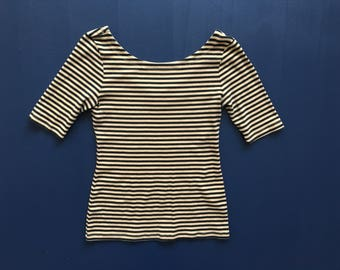 Black & Beige Striped Top Women's S