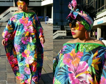 Multicoloured maxi dress. floral dress  tropical print kaftan