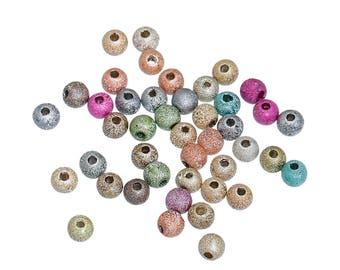 4MM Acrylic Sparkle-Dust Round Beads (100) AC3