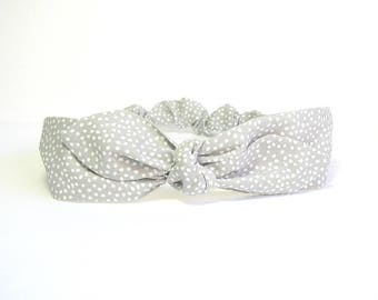 Grey and white headband for woman by Tricotmuse