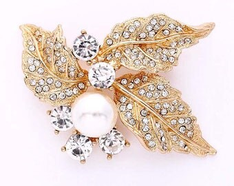 Gold Wedding Brooch, Crystal Pearl Brooch, Rhinestone Gold Brooch, Gold Bridal Broach, Gold Rhinestone Brooches for Bouquet