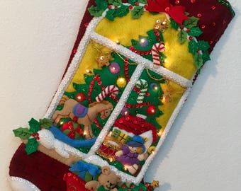 Finished Bucilla Christmas Window Christmas stocking