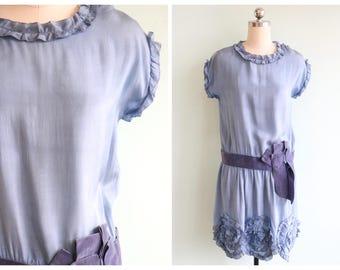 Vintage 1920's Blue Silk Ruffles Dress | Size Small