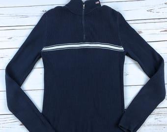 VTG Polo Ralph Lauren 1/4 Zip Striped Long Sleeve Knit Shirt Size: XL