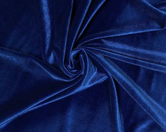 Royal Blue Stretch Velvet Fabric 60'' Wide by the Yard for Sewing Apparel Costumes Craft