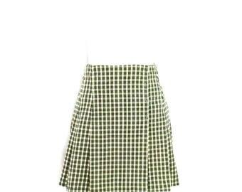90's School Girl Plaid Skirt Vintage Green & Ivory Plaid Wrap Skirt 1990's Grunge Skirt Size Medium Hipster Skirt Preppy Snap Front Skirt