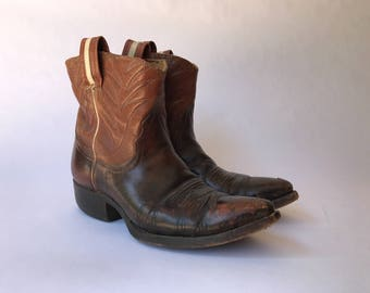 1960s Nocona Leather Cowboy Boots Ankle Boots Women's Size 9.5 Made in USA