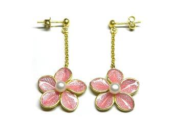 24K Gold, Pearl & Pink Enamel Flower Drop Earrings - Women's Long Floral Earrings - Jewellery Gifts - Handmade in Greece