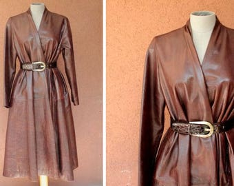 1980's Donna Karan Leather Coat - DKNY Brown Soft Leather Long Coat