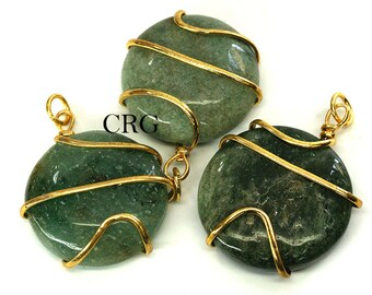 Gold Plated Round Spiral Wrapped Green Aventurine Pendant (RS7DG)