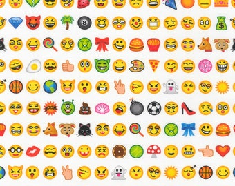 Emoji Fabric Robert Kaufman White OMG LOL Digitally Printed Cotton