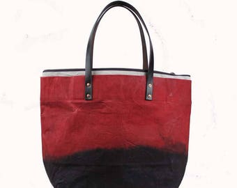 Large Waxed Cotton Canvas Tote Bag w/Liner - Red/Brown - Leather Handles